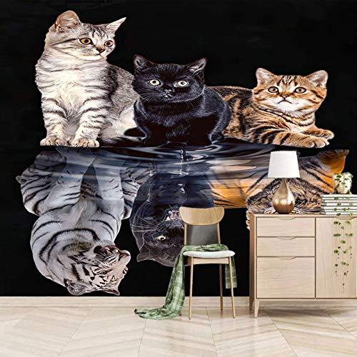 SJKstore Mural de la etiqueta de la pared 3D Dibujos animados, animal, gato, tigre 200x150CM Mural de papel tapiz autoadhesivo, impermeable, saludable y ecológico de bricolaje, decoración del hogar de