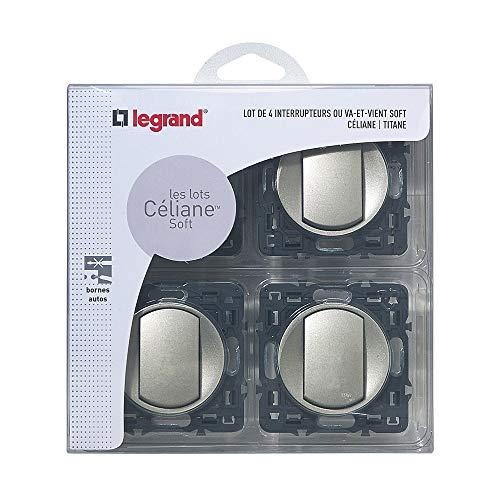 Legrand – Lot de 4 Interrupteurs va-et-vient à Composer – Céliane Soft – Interrupteur Mural Titane - 200263