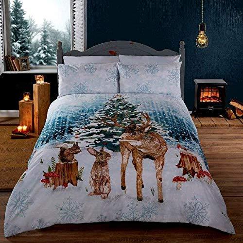 Rapport Woodland Animals Christmas Tree Duvet Cover Set, Polycotton, White, King