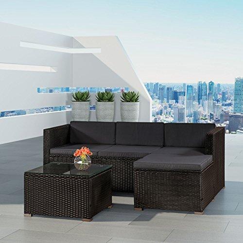 ArtLife Polyrattan Lounge Punta Cana M für 3-4 Personen mit Tisch in schwarz mit Bezügen in Dunkelgrau | Gartenmöbel Sitzgruppe - 2