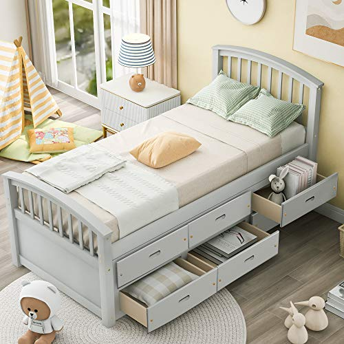 SOFTSEA Twin Bed Platform with 6 Drawers, Captains Bed Storage Daybed Frame for Kids Teens Guests(Captains Gray)