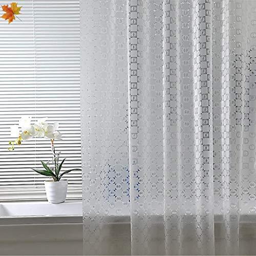 Douchegordijn, antischimmel, lang, halftransparant voor badkamer, douche, dynamische 3D-gordijnen, badkamer of badkuip