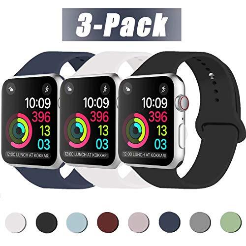 INZAKI Kompatibel mit Apple Watch Armband 38mm 40mm, Classic Sport Ersatzband aus weichem Silikon für Armband für iWatch Serie 5/4/3/2/1, Nike +, Sport, Edition, S/M, Schwarz/Midnight Blue/Weiß