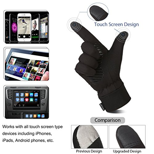 VBIGER Herren Touchscreen Handschuhe Anti-Rutsch Outdoor Sport Handschuhe Fahren Radfahren Handschuhe mit Fleece Liner für Herbst und Frühwinter - 3
