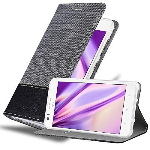Cadorabo Hülle für HTC Desire 10 Lifestyle/Desire 825 - Hülle in GRAU SCHWARZ – Handyhülle mit Standfunktion & Kartenfach im Stoff Design - Case Cover Schutzhülle Etui Tasche Book
