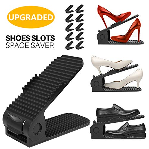 Shoe Slots Organizer, 4-Levels Adjustable Shoe Organizer, Space Saver for Closet, Better Stability...