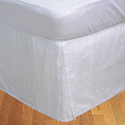 BudgetLinen Box Plissee Bed Rock (Valance Sheet)(Weiß Steifen,UK Super König Größe 180x200 cm (6 ft x 6ft 6in), Drop Length 30cm) 100% ägyptischer Baumwolle Premium Qualität 600 Thread Count