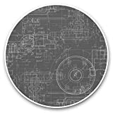 Impresionantes pegatinas de vinilo (juego de 2) 7,5 cm (bw) – calcomanías divertidas de ingeniería mecánica para portátiles, tabletas, equipaje, reserva de chatarra, frigorífico, regalo genial #38334