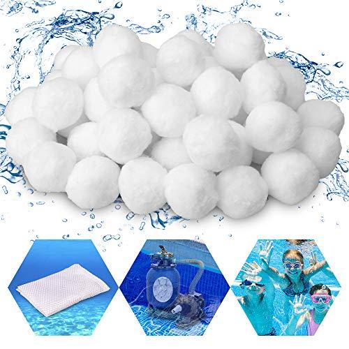TEHEO Filter Balls 700g Filterbälle Filtermaterial für Poolpumpe, ersetzen 25 kg Filtersand Quarzsand für Pool Sandfilter, Filteranlagenzubehör mit einem Filterbeutel (Weiß)