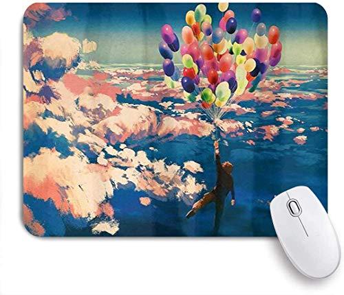 Mouse pad adventure man fliegt mit bunten luftballons im himmel auf wolken miracle paint print kundenspezifische kunst mousepad rutschfeste gummibasis für computer laptop schreibtisch schreibtischzube