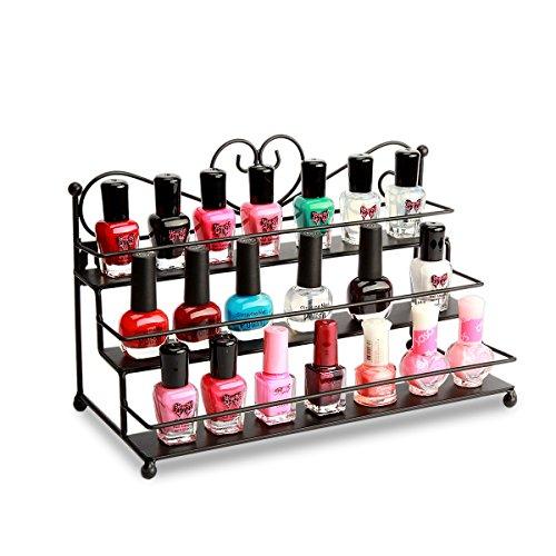 P&B Metall-Nagellack-Wandregal, 3 Ebenen, Nagellack-Aufbewahrung, Organizer, Lippenstift-Ständer, hält 30 Flaschen (schwarz)