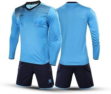 KELME Men Women Padded Goalkeeper Jersey and Shorts, Youth Soccer Goalie Shirt Long Sleeve, Adult Keeper Uniform Kit