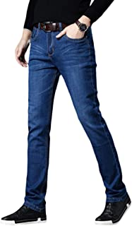YOUTHUP Mens Blue Jeans Regular Straight Fit Stretch Denim Trousers Casual Jeans All Waist