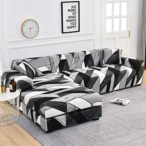 ASCV Fundas de sofá de Esquina para Sala de Estar Fundas elásticas para sofá Funda de sofá elástica Toalla en Forma de L Chaise Longue A8 2 plazas