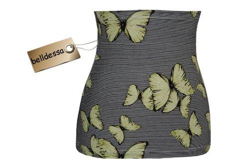 Belldessa 3 in 1 : Jersey - Nierenwärmer / Shirt Verlängerer / Accessoire - Frau XL -  Schmetterlinge grün schwarz Streifen  - Bauchband / Bauchwärmer