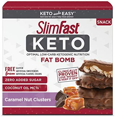 SlimFast Keto Fat Bomb Snacks Chocolate Caramel Nut Clusters 20g 14 Count Pantry Friendly product image