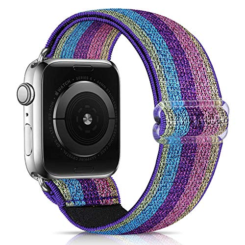 ShuYo Adjustable Elastic Watch Band Compatible for Apple Watch Band 38mm 42mm 40mm 44mm iwatch Series 6/5/4 /3/2 /1,Soft Fabric Cotton Sport Replacement Loop Strap Wristbands for Women Men(38/40mm)