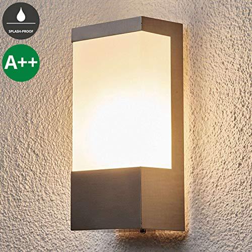 *Lindby Wandleuchte außen 'Kirana' (spritzwassergeschützt) (Modern) in Alu aus Edelstahl (1 flammig, E27, A++) – Außenwandleuchten, Wandlampe, Außenlampe, Wandlampe für Outdoor & Garten*