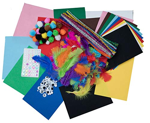 Bastelset Bastelfilz Mega Bastelkoffer 280 Teile Bastelmaterial Kinder Kreativset Pompons Wackelaugen Federn Pfeifenreiniger