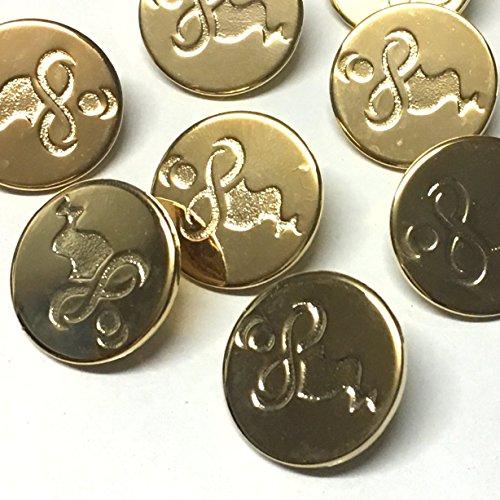 The Button Shed Genie Unendlichkeitsknöpfe, vergoldetes Metall, 20 mm, rund, 6 Stück