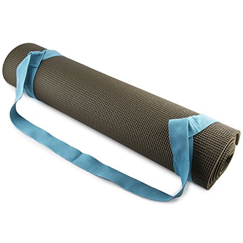 FIT SPIRIT Adjustable Cotton Yoga Mat Carrying Strap, Blue