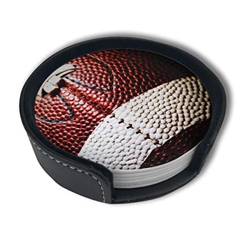 BJAMAJ Rugby-Ball Premium PU-Leder Untersetzer rund mit Halterungen, geeignet für Zuhause und Küche, 6 Stück
