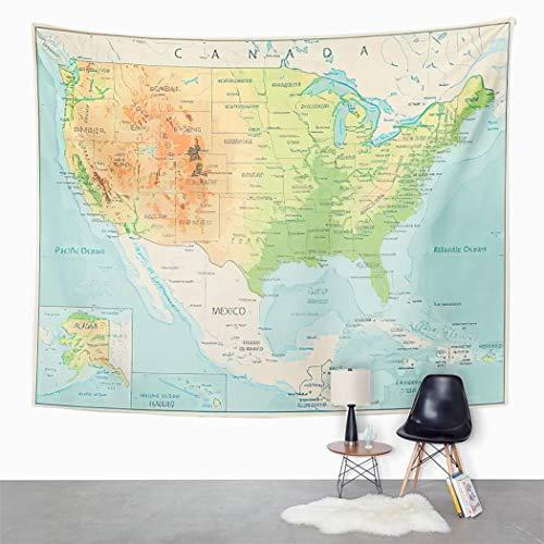 Y·JIANG Tapiz de mapa de Estados Unidos, diseño de mapa físico de Estados Unidos, color retro, para el dormitorio, 203 x 152 cm