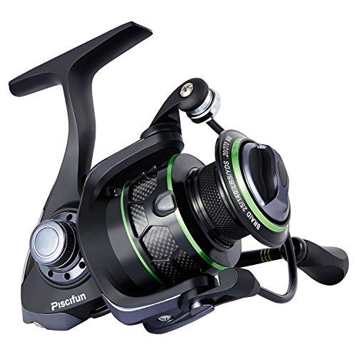 Piscifun Spinning Reel Lightweight Smooth Fishing Reel 5.1:1 10+1BB 17.6LB Carbon Fiber Drag Spin Reels 2000 Series