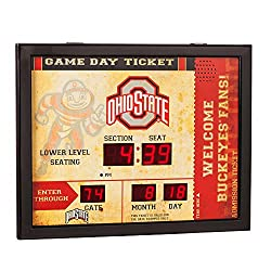 Team Sports America NCAA Bluetooth Scoreboard Wall Clock, Ohio State Buckeyes