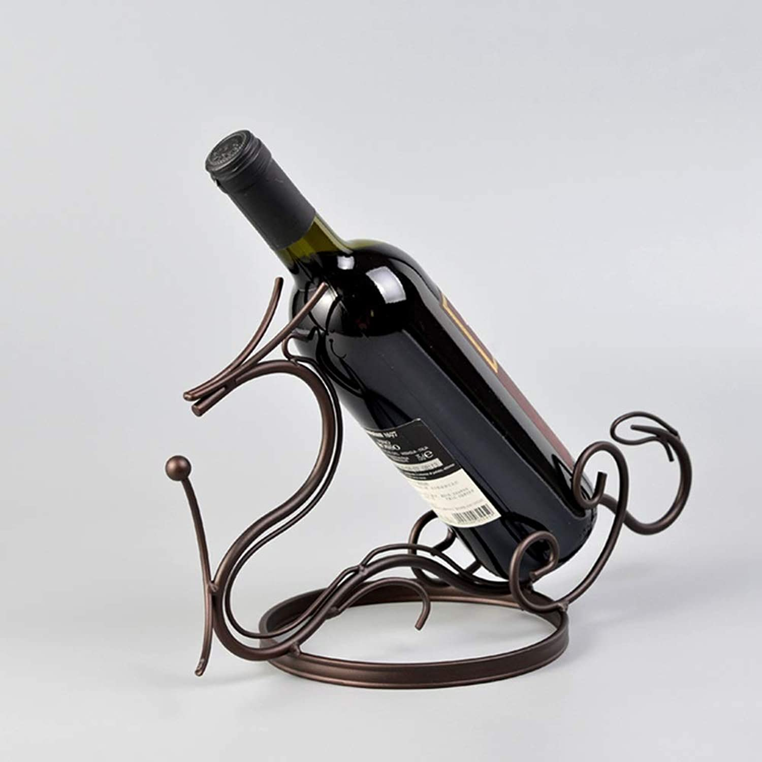 Red Wine Shelf Household Electroplating Iron Flying Dragon Molding Single Bottle Red Wine Rack (color   Brown)