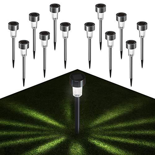 Quntis 12 Set luce solare da giardino con picchetto da terra, luci solari a LED a forma di stella all'esterno, illuminazione IP44 lampada bianca fredda del percorso per balcone terrazza prato sentiero