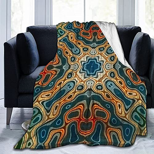 Manta Duradera Mantas de Franela Teal Azul Naranja Amarillo Verde Hip Orient Bali Art Mantas maravillosas para sofá Cama Sofá Silla Oficina Viaje Camping Manta Decorativa Moderna 60 'x50'