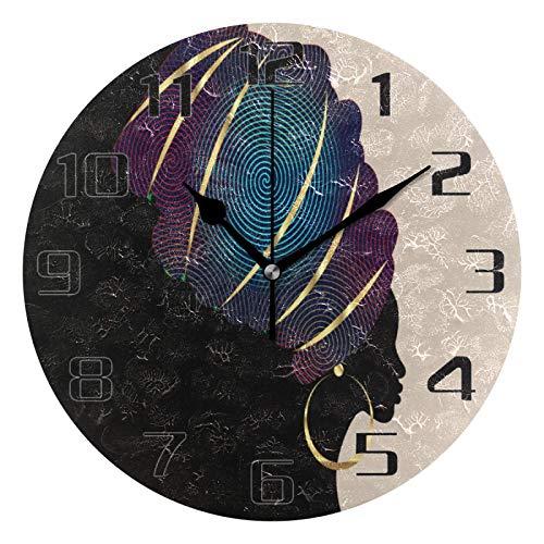 Lewiuzr Reloj de Pared Retro para Mujeres africanas, silencioso, sin tictac, Reloj Redondo para el hogar, Sala de Estar, Cocina, Oficina, Escuela, decoración