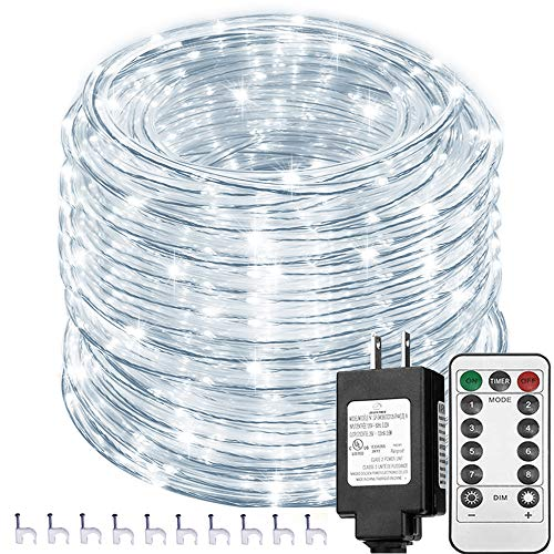 Solhice 66ft 335 LEDs Rope Lights White Outdoor with Remote Control, Waterproof Dimmable LED Tube Light with Timer for Deck, Patio, Wedding, Bedroom...