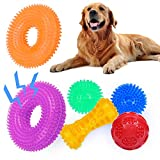 Hestarpet Dogs Squeaky Toys for Puppy, 6Pcs TPR Rubber Dog Squeaky Ball Toys Set, Puppies Toss Fetch Toys, Dog Spikey Chew Toys for Small Medium Dogs Pet Toys for Tooth Cleaning