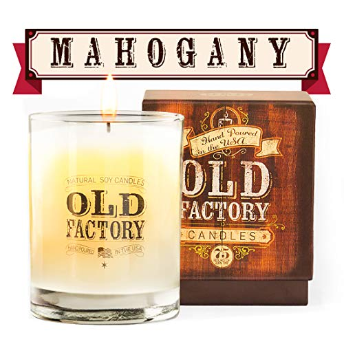 Old Factory Scented Candles - Mahogany - Decorative Aromatherapy - Handmade in The USA with Only The Best Fragrance Oils - 11-Ounce Soy Candles
