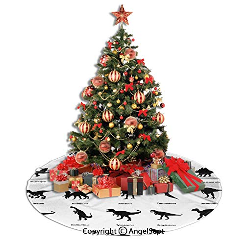 SfeatrutMAT Christmas Tree Skirt,Dinosaur,Collection of Different Dinosaurs Silhouettes with Their Names Evolution Wildlife,Black White,48inches,Tree Skirts for Holiday Party Mat Xmas Ornaments