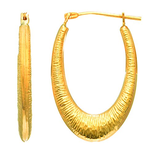 14Kt Yellow Gold Shiny Graduated Textured Oval Hoo P Earring