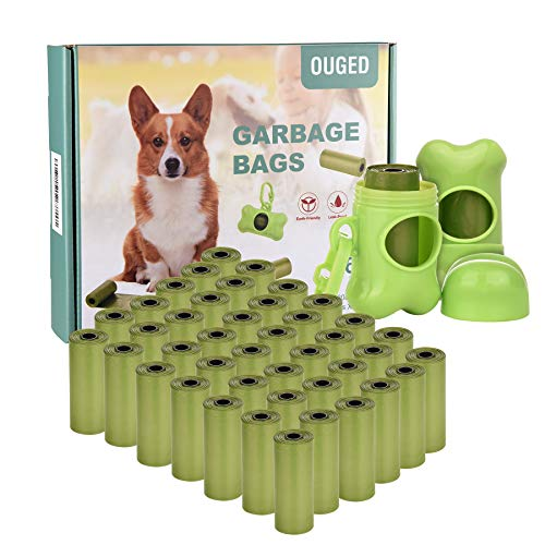 ERUW Bolsas para Caca de Perro, 630 Bolsas para desechos de Perros con dispensador y Clip para Correa, Bolsas de Caca biodegradables sin Perfume para Rollos de Gato 42 para Perros