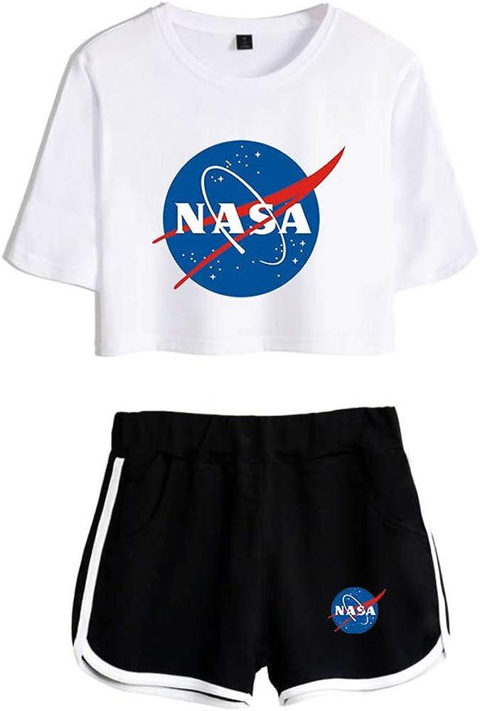 Women//Teen Girls Casual Sports Suit NASA Print Short Sleeve T-Shirt Shorts Set Summer Casual Two-Piece
