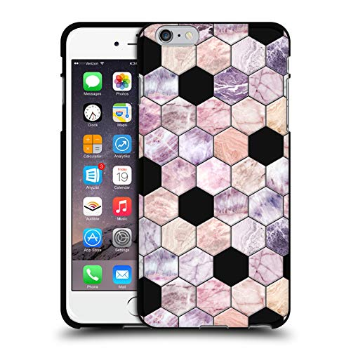 Head Case Designs Oficial Micklyn Le Feuvre Hexágonos de Cuarzo Rosa Patrones 7 Funda de Gel Negro Compatible con Apple iPhone 6 Plus/iPhone 6s Plus