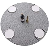Round Vinyl Tablecloth Elastic Edge Flannel Backed Table Cover (Grey, Large Round Fits Table up 45