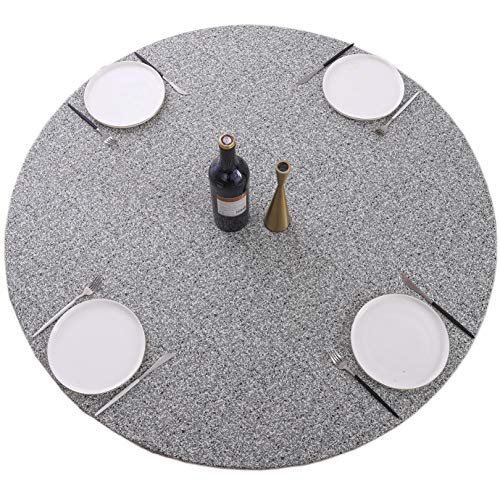 Round Vinyl Tablecloth Elastic Edge Flannel Backed Table Cover (Grey, Small Round Fits Table up 40'-44' Diameter)