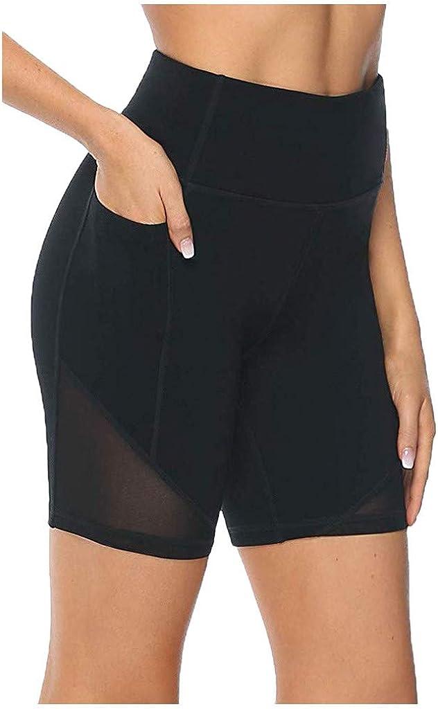 Yoga Shorts for Women Plus Size,High Waist Yoga Short Side Pocket Workout Tummy Control Bike Shorts Running Exercise Leggings
