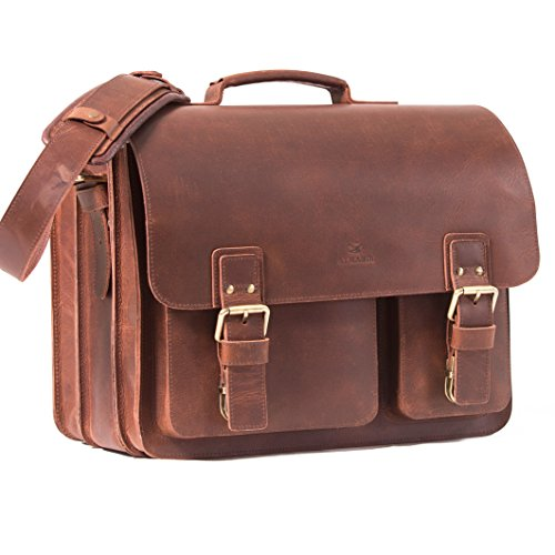 ALMADIH Genuine XXL Leather Briefcase *SAM* Messenger brown vintage Handmade Satchel Business Work Bag Uni College School teacher Shoulder Tote Bag Cross-Body Laptop Courier Bag