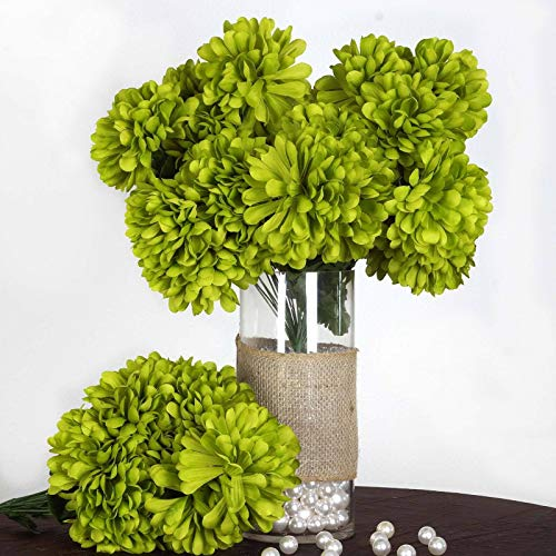 Efavormart 56 Large Chrysanthemum Mums Ballsfor DIY Wedding Bouquets Centerpieces Party Home Decorations - 4 Bushes - Sage Green