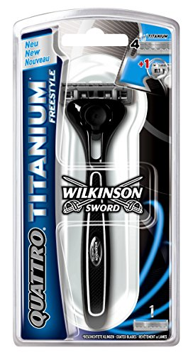 Wilkinson Sword Quattro Titanium FREESTYLE - Maquinilla de Afeitar de 4 Hojas de Titanio para Hombre, Cuchilla Perfilado Barba, Incluye 1 Cabezal