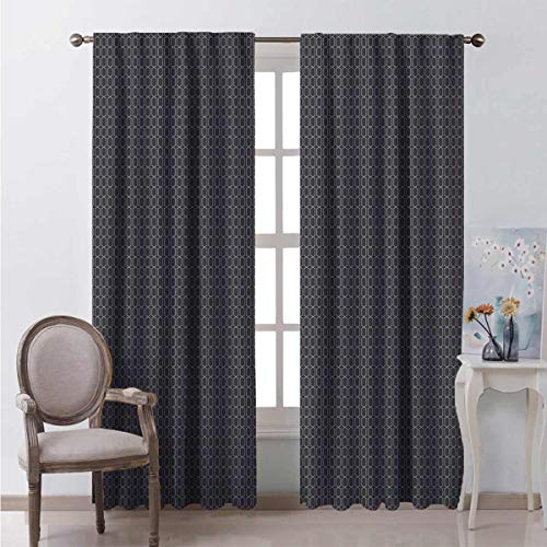 hengshu Short Curtains 72 Inch Lenght Antique Abstract Trellis Multicolor Black Out Privacy Curtains for Hostel 84x72 Inch