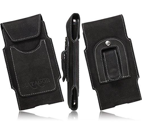 MATADOR Echtleder Slim Design Tasche für BlackBerry Z30 Handytasche Gürteltasche Vertikaltasche in Schwarz mit Gürtelclip/Gürtelschlaufe & EC./Kreditkartenfach