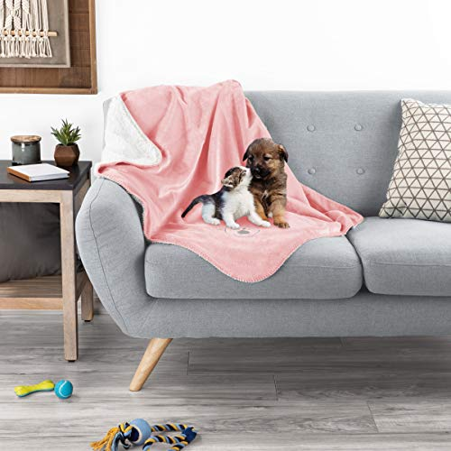Petmaker Waterproof Pet Blanket – 40inx30in Plush Lap Throw Protects Couch, Chair, Car, Bed from Spills, Stains, or Fur-Machine Washable (Pink)